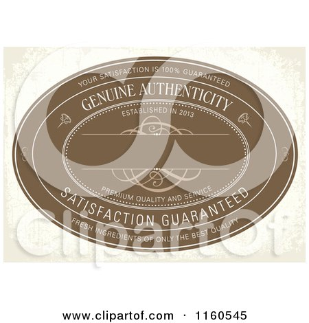 Clipart of a Vintage Distressed Brown Genuine Authenticity Label on Beige - Royalty Free Vector Illustration by BestVector