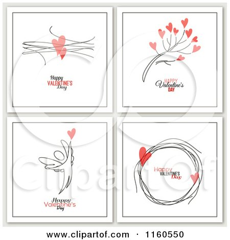 Clipart of Happy Valentines Day Greetings with Hearts and an Angel - Royalty Free Vector Illustration by elena