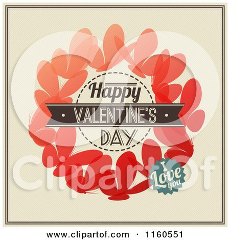 Clipart of Happy Valentines Day I Love You Text over Butterflies - Royalty Free Vector Illustration by elena