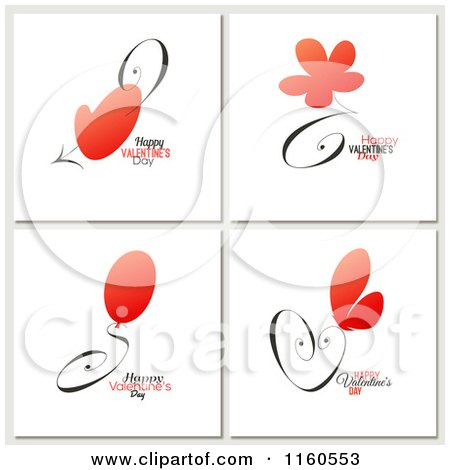 Clipart of Happy Valentines Day Greetings with Red Items - Royalty Free Vector Illustration by elena