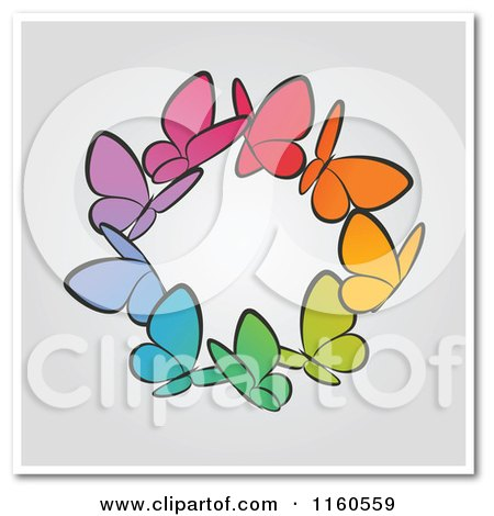 Clipart of a Ring of Colorful Butterflies with Copyspace - Royalty Free Vector Illustration by elena