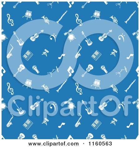 Clipart of a Seamless Blue Background with White Music Icons - Royalty Free Vector Illustration by AtStockIllustration
