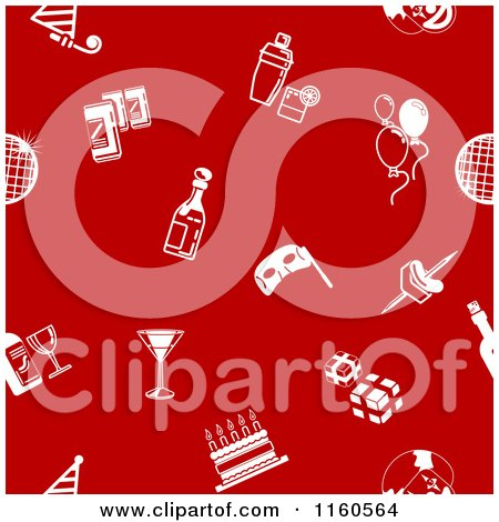 Clipart of a Seamless Red Background with White Party Icons - Royalty Free Vector Illustration by AtStockIllustration
