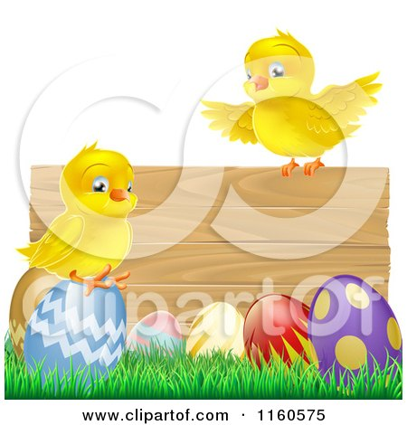 Cartoon of Yellow Chicks and Easter Eggs on Grass by a Wood Sign - Royalty Free Vector Clipart by AtStockIllustration
