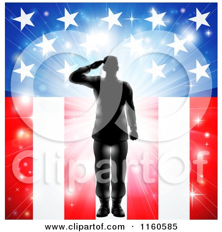 Clipart of a Silhouetted Soldier Saluting over Fireworks and an American Flag - Royalty Free Vector Illustration by AtStockIllustration