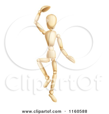 Clipart of a Dancing Wooden Mannequin - Royalty Free Vector Illustration by AtStockIllustration