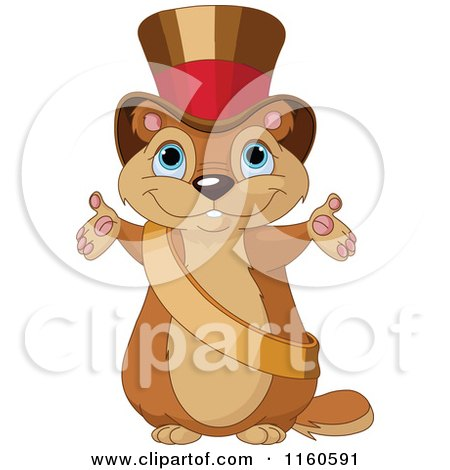 Cartoon of a Cute Presenting Groundhog Wearing a Sash and Top Hat - Royalty Free Vector Clipart by Pushkin