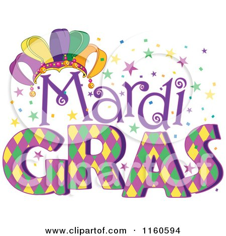 Cartoon of Mardi Gras Text with a Jester Hat and Stars - Royalty Free Vector Clipart by Pushkin