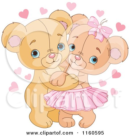 Cartoon of a Cute Valentine Teddy Bear Couple Hugging - Royalty Free Vector Clipart by Pushkin