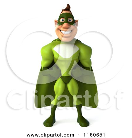 Clipart of a 3d Super Hero Man in a Green Costume - Royalty Free CGI Illustration by Julos