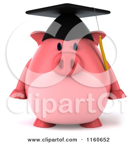 Clipart of a 3d Graduation Pig Wearing a Cap and Tassel - Royalty Free CGI Illustration by Julos