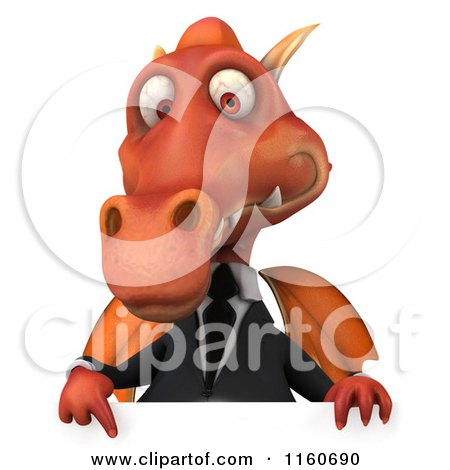 Clipart of a 3d Red Business Dragon with a Sign - Royalty Free CGI Illustration by Julos