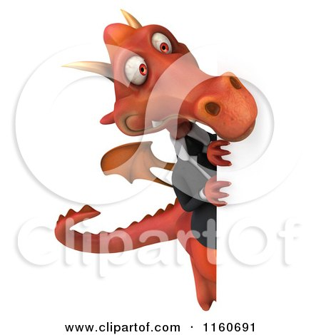 Clipart of a 3d Red Business Dragon with a Sign 2 - Royalty Free CGI Illustration by Julos
