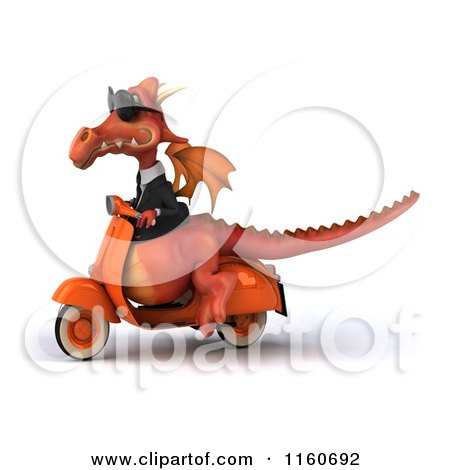 Clipart of a 3d Red Business Dragon on a Scooter - Royalty Free CGI Illustration by Julos