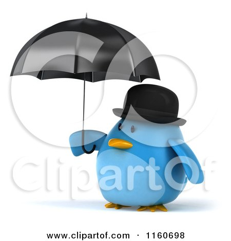 Clipart of a 3d Bluebird with a Bowler Hat and Umbrella - Royalty Free CGI Illustration by Julos