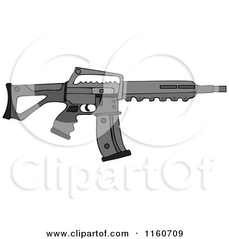Cartoon of a Black Semi Automatic Assault Rifle with a Clip - Royalty Free Vector Clipart by djart