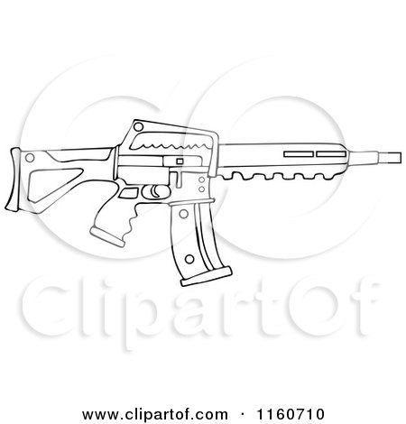 Cartoon of an Outlined Semi Automatic Assault Rifle with a Clip - Royalty Free Vector Clipart by djart