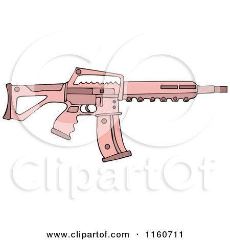 Cartoon of a Pink Semi Automatic Assault Rifle with a Clip - Royalty Free Vector Clipart by djart