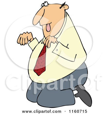 Cartoon of a Caucasian Businessman Begging on His Knees - Royalty Free Vector Clipart by djart