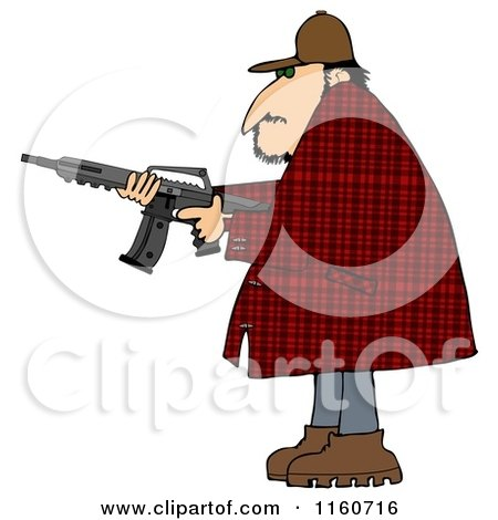 Cartoon of a Man in a Plaid Jacket, Holding a Semi Automatic Assault Rifle with a Clip - Royalty Free Clipart by djart