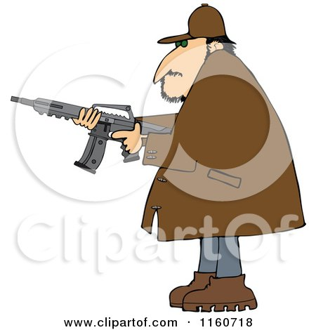 Cartoon of a Man in a Brown Jacket, Holding a Semi Automatic Assault Rifle with a Clip - Royalty Free Vector Clipart by djart