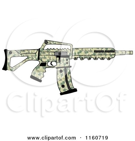 Cartoon of a Camo Semi Automatic Assault Rifle with a Clip - Royalty Free Clipart by djart