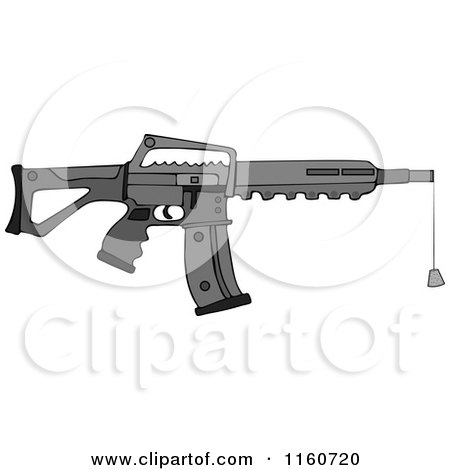 Cartoon of a Black Semi Automatic Assault Rifle with a Clip and a Cork - Royalty Free Vector Clipart by djart