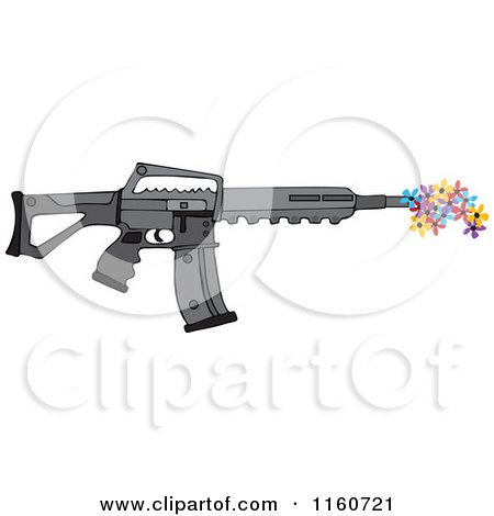 Cartoon of a Black Semi Automatic Assault Rifle with a Clip Shooting Flowers - Royalty Free Vector Clipart by djart