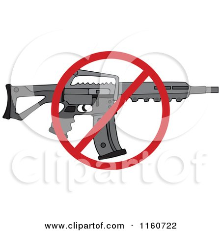 Cartoon of a Black Semi Automatic Assault Rifle with a Clip and a Prohibited Symbol - Royalty Free Vector Clipart by djart