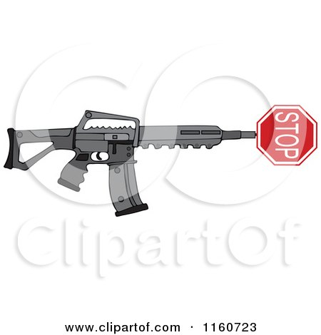 Cartoon of a Black Semi Automatic Assault Rifle with a Stop Sign - Royalty Free Vector Clipart by djart
