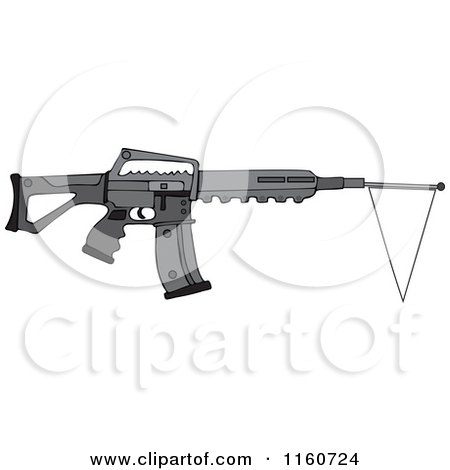 Cartoon of a Black Semi Automatic Assault Rifle with a White Flag - Royalty Free Vector Clipart by djart