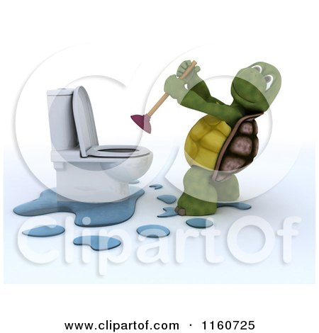 Clipart of a 3d Tortoise Using a Plunger on a Toilet - Royalty Free CGI Illustration by KJ Pargeter