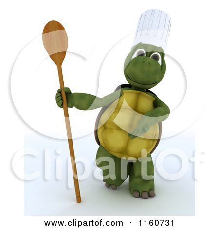 Clipart of a 3d Tortoise Chef Holding a Wooden Spoon - Royalty Free CGI Illustration by KJ Pargeter