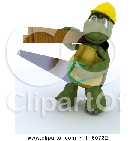 3d Tortoise Carpenter Carrying a Saw and Lumber Posters, Art Prints