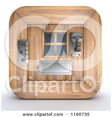 Clipart of a 3d Wooden Door Icon - Royalty Free CGI Illustration by KJ Pargeter