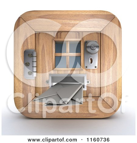 Clipart of a 3d Door and Incoming Mail Icon - Royalty Free CGI Illustration by KJ Pargeter