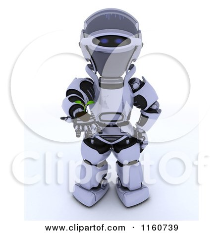 Clipart of a 3d Robot Holding out a Seedling Plant and Soil - Royalty Free CGI Illustration by KJ Pargeter