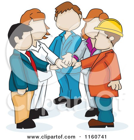Cartoon of a Faceless Business Team with Their Hands All in - Royalty Free Vector Clipart by David Rey