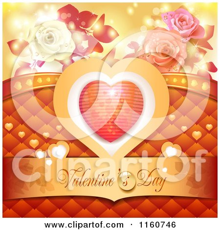 Clipart of a Valentines Day Background with Roses and a Heart 3 - Royalty Free Vector Illustration by merlinul