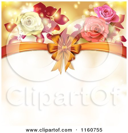 Clipart of a Valentines Day or Wedding Background with Roses and Hearts 7 - Royalty Free Vector Illustration by merlinul