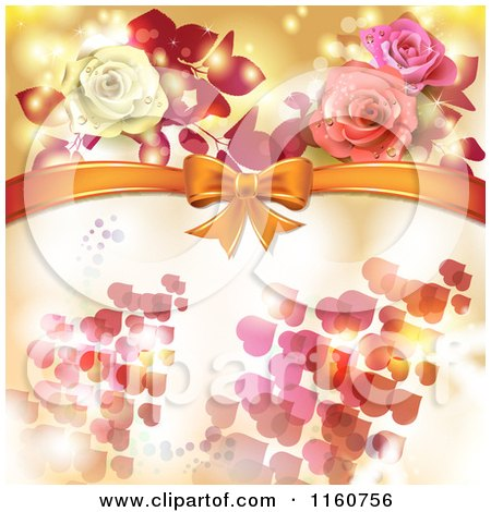 Clipart of a Valentines Day or Wedding Background with Roses and Hearts 3 - Royalty Free Vector Illustration by merlinul