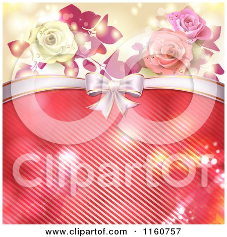 Clipart of a Valentines Day or Wedding Background with Roses and Hearts 4 - Royalty Free Vector Illustration by merlinul