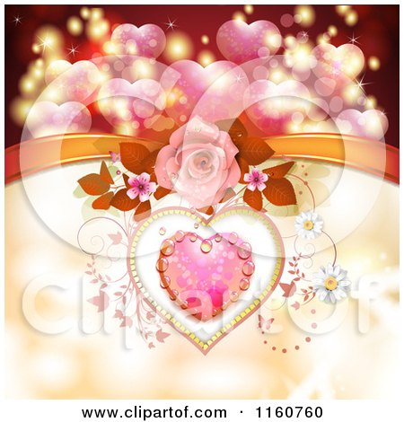 Clipart of a Valentines Day Background of a Dewy Pink Heart Roses and Vines with a Bow - Royalty Free Vector Illustration by merlinul