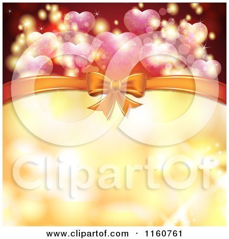 Clipart of a Valentines Day or Wedding Background with Hearts and a Bow - Royalty Free Vector Illustration by merlinul