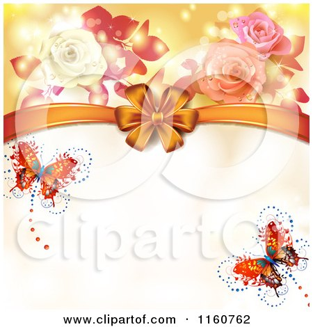 Clipart of a Valentines Day or Wedding Background with Roses Butterflies and Hearts 2 - Royalty Free Vector Illustration by merlinul