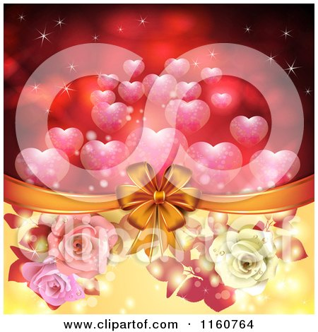 Clipart of a Valentines Day or Wedding Background with Roses and Hearts 9 - Royalty Free Vector Illustration by merlinul