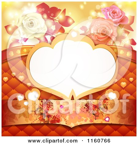 Clipart of a Valentines Day or Wedding Background with a Frame Roses Butterflies and Hearts - Royalty Free Vector Illustration by merlinul