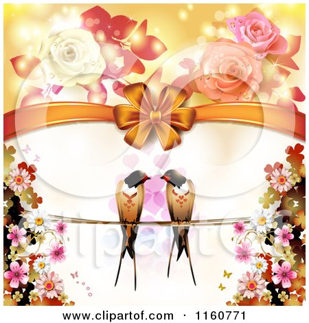Valentines Day or Wedding Background with Love Birds Hearts and Roses Posters, Art Prints