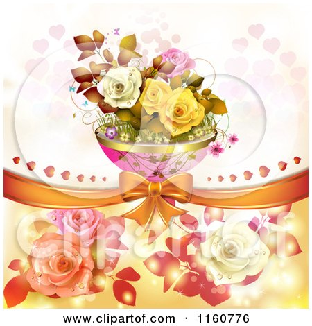 Clipart of a Valentines Day or Wedding Background with Roses and Hearts 12 - Royalty Free Vector Illustration by merlinul