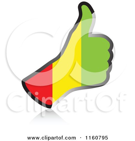 Clipart of a Flag of Guinea Thumb up Hand - Royalty Free Vector Illustration by Andrei Marincas
